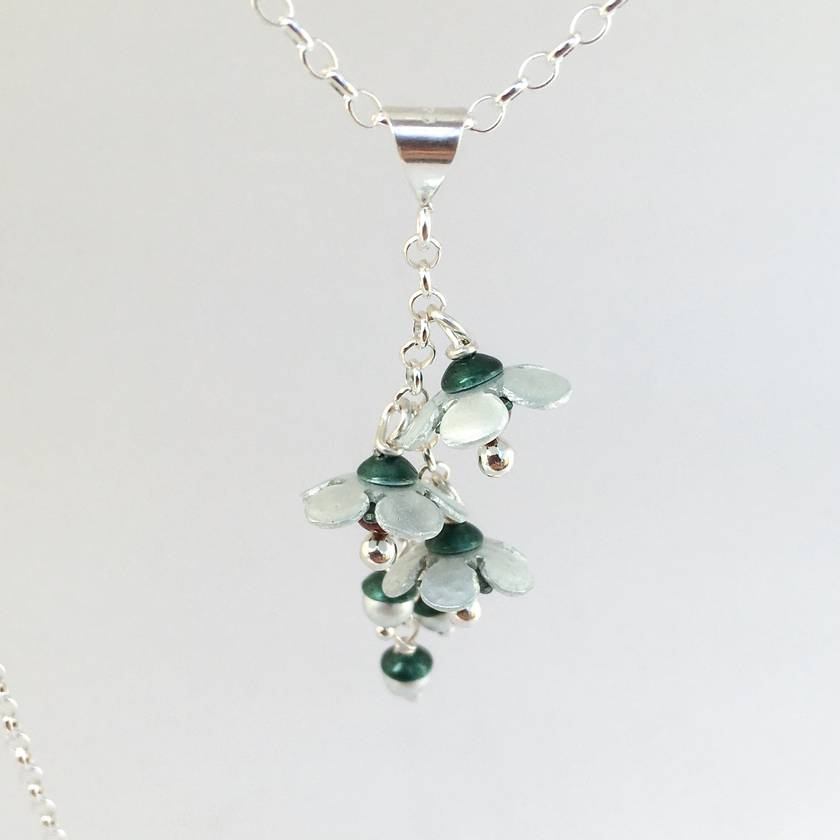 Manuka flower pendant, individually enamelled sterling silver flower necklace