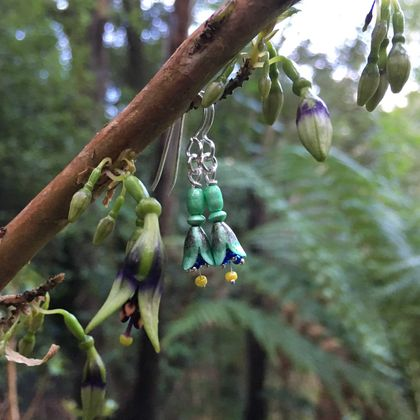 NZ Tree Fuchsia (kōtukutuku) earrings, individually enamelled sterling silver flower earrings