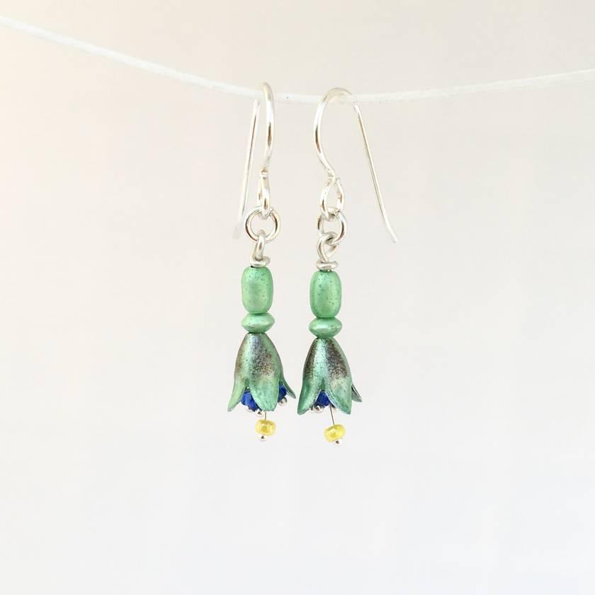NZ Tree Fuchsia (kōtukutuku) earrings, individually enamelled sterling silver flower earrings