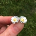 Mt Cook buttercup flower earrings, individually enamelled sterling silver flower earrings
