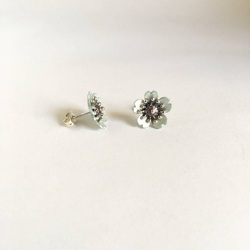 Cherry blossom studs, individually enamelled sterling silver flower earrings