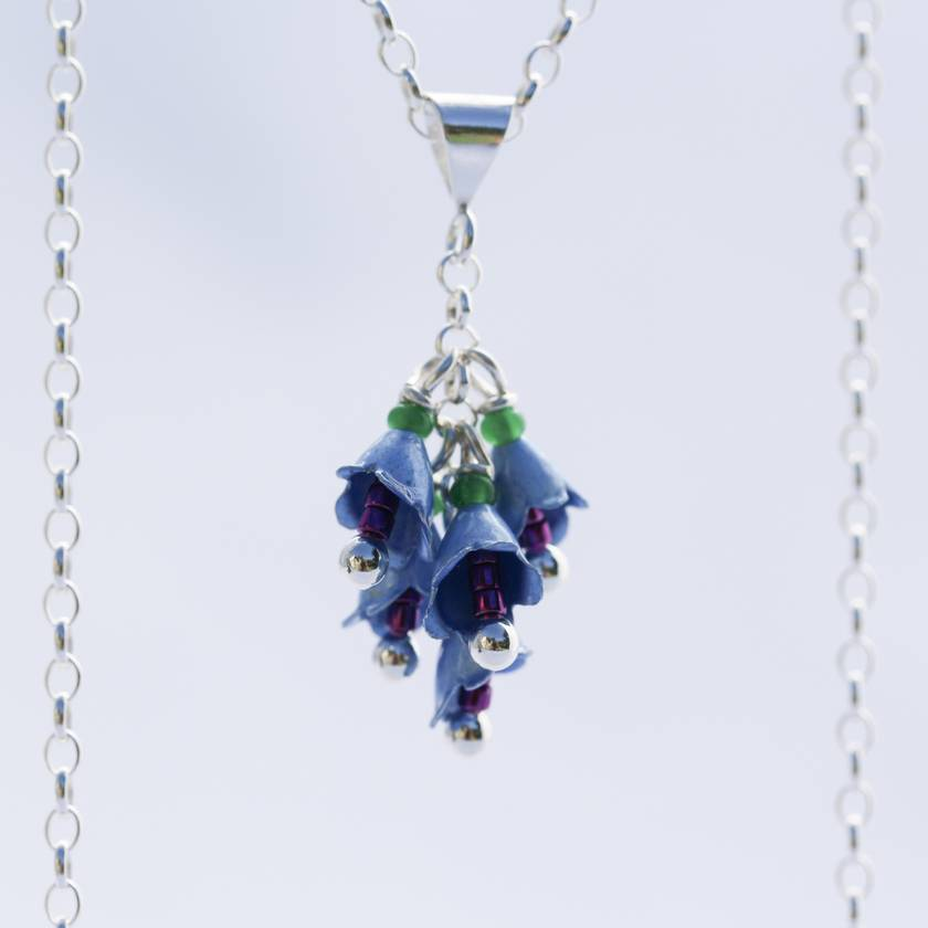 Blue Borage flower necklace, individually enamelled sterling silver flower necklace with glass beads
