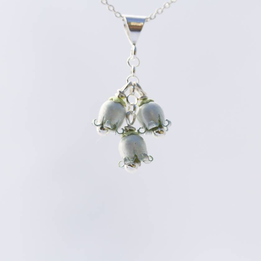 NZ jasmine, kaihua flower 3 bloom pendant, individually enamelled sterling silver flower necklace