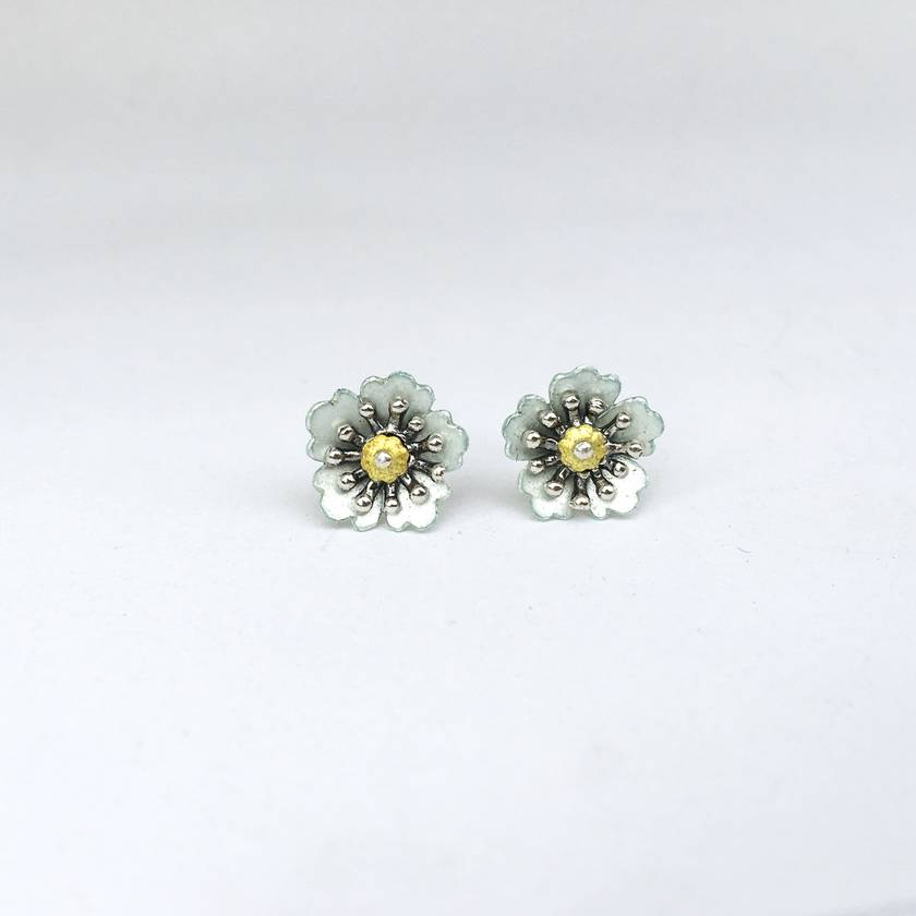 Strawberry flower studs, individually crafted sterling silver flower earrings