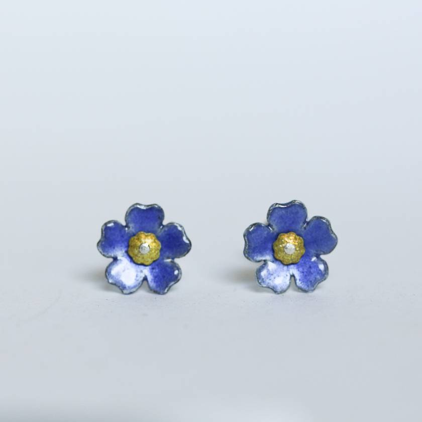 Chatham Island forget me not studs, individually enamelled sterling silver flower earrings