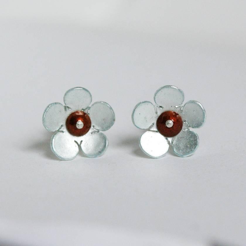 Manuka flower studs, individually enamelled sterling silver flower earrings