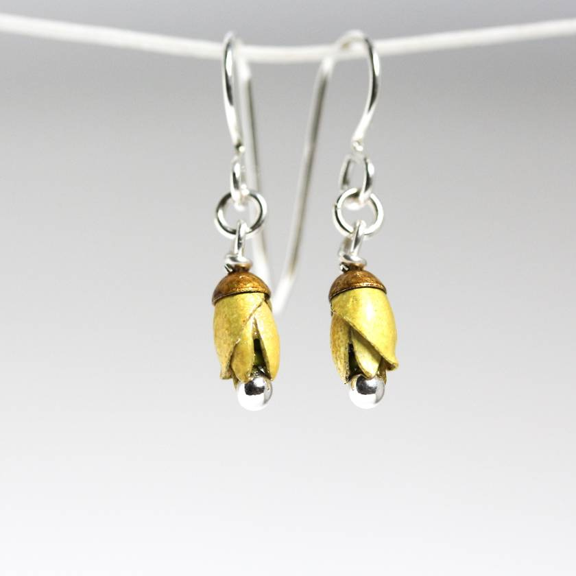 Kowhai, NZ Native flower earrings, individually enamelled sterling silver flower earrings with glass beads