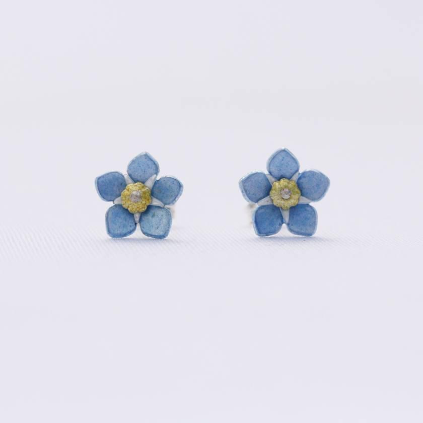 Forget me not flower studs, individually enamelled sterling silver flower earrings