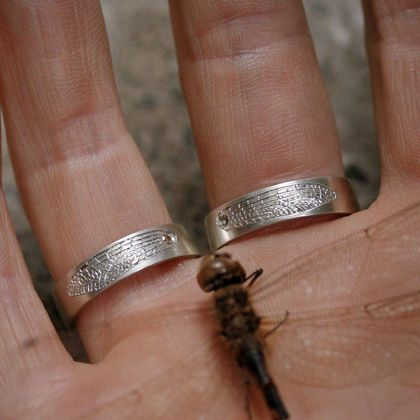 Diamond dragonfly wing ring, hand engraved