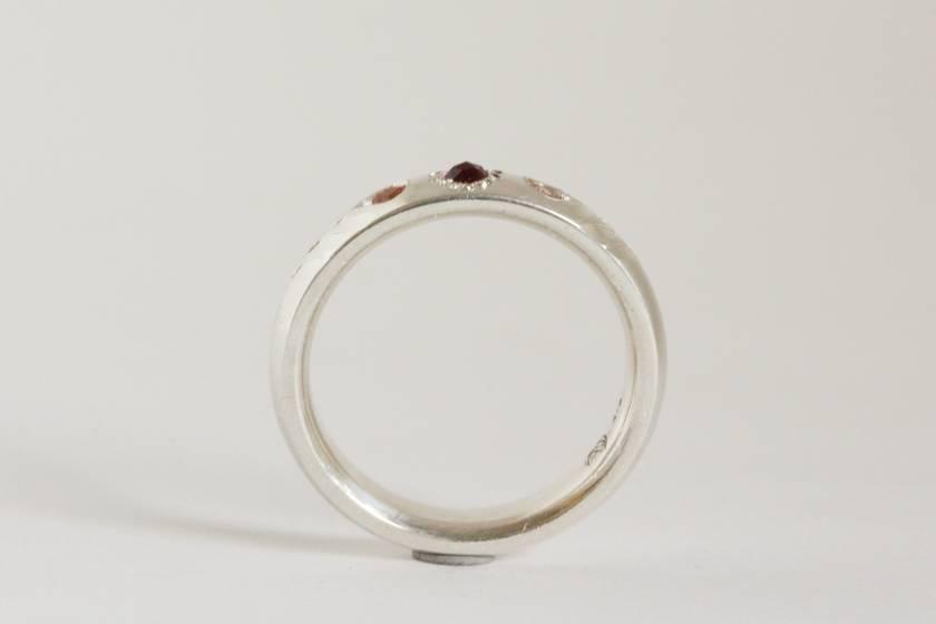 Peach Sapphire and Rhodolite Garnet Rosebud ring, hand engraved