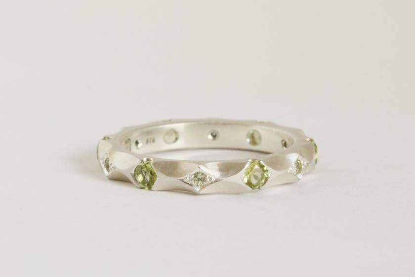 Peridot Rose ring, hand formed and hand set.