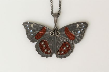 Hand engraved and glass enamelled red admiral butterfly pendant in fine silver