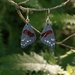 Hand engraved and glass enamelled red admiral butterfly earrings in fine silver