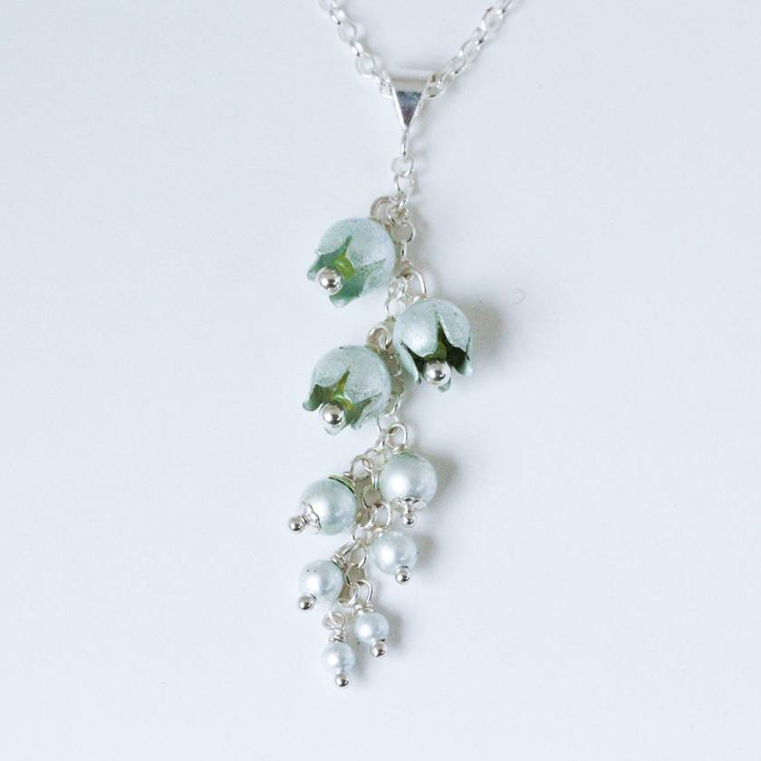 Lily of the valley flower pendant , individually enamelled sterling silver flower necklace