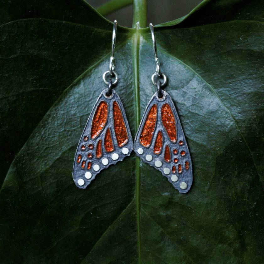Hand engraved and glass enamelled monarch butterfly wing earrings in fine silver