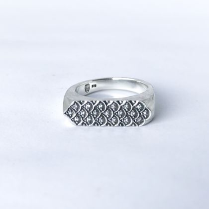 Dragon scale ring, hand engraved and set with moissanites