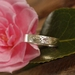 Camelia pink sapphire ring, hand engraved