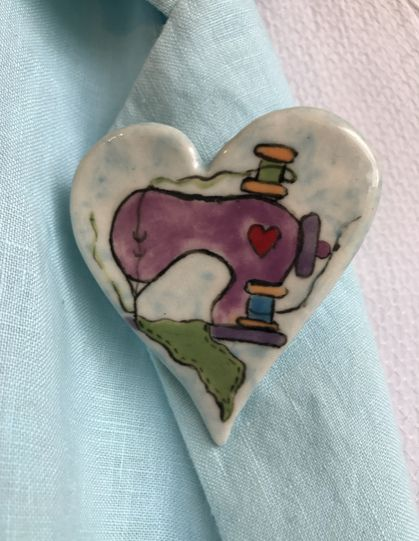 Hand painted ceramic brooch