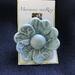 Blue flower ceramic brooch
