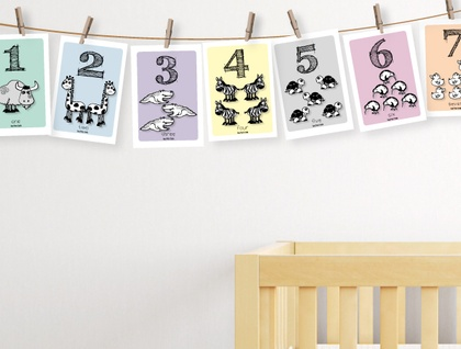 Number Zoo Flash Cards with string & pegs, 3 colours