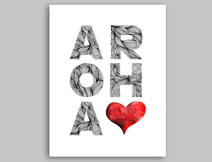 Aroha greeting card pack of 10 cards