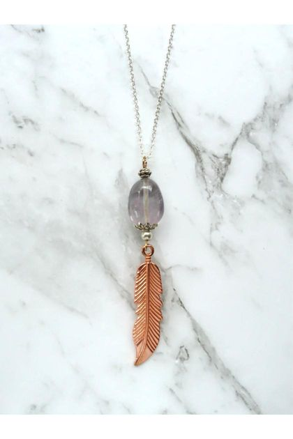 Boho Luxe Smokey Grey Fluorite Feathered gem necklace