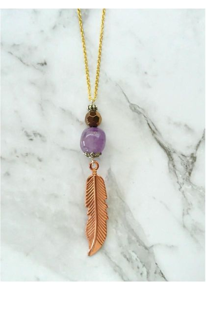 Boho Luxe Amethyst Feathered gem necklace
