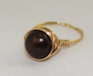 Brown Pearl and Gold Wire-Wrapped Ring