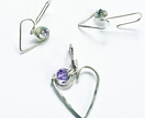 Koru Heart Drop Earrings & Pendant with Swarovski Crystals SET