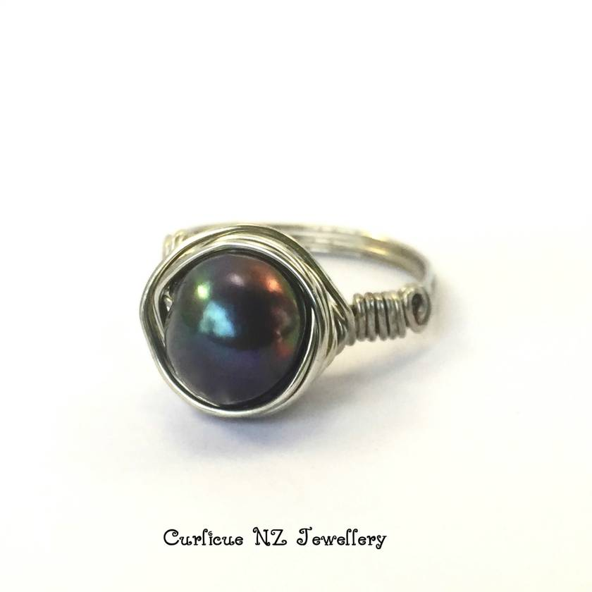 Black Freshwater Pearl Ring wrapped in Sterling Silver wire