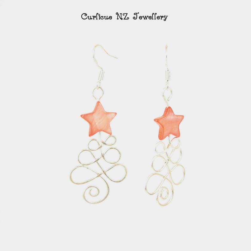 Sterling Silver wire Christmas Tree earrings with red mother of pearl star