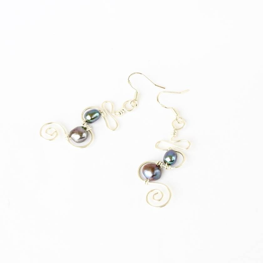 Dangly Pearl Spinner Eco Earrings in Sterling Silver and a Squiggle & Spiral shape