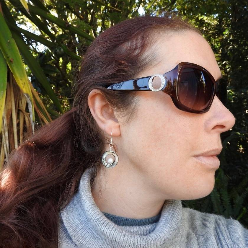 Pacific Paua Shell Circle dangle Earrings with Ivory Freshwater Pearl and Sterling Silver; Beach Earrings