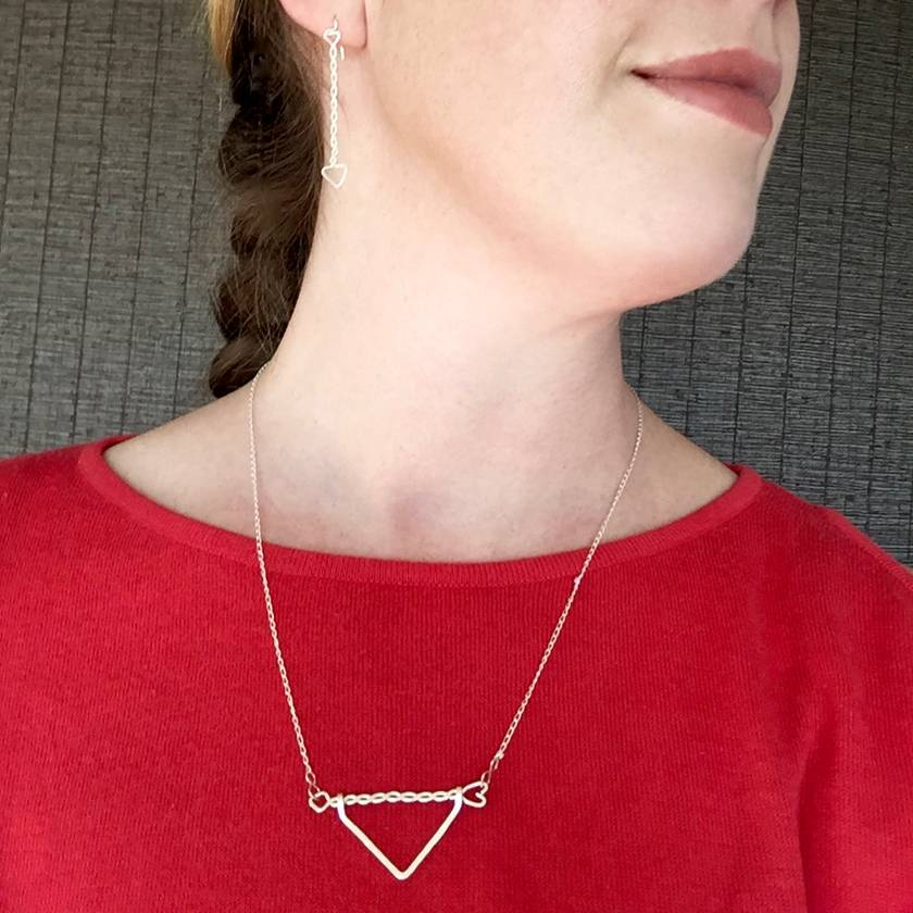 Sterling Silver Twisted Arrow, Long Arrow Chevron, Triangle Eco Necklace
