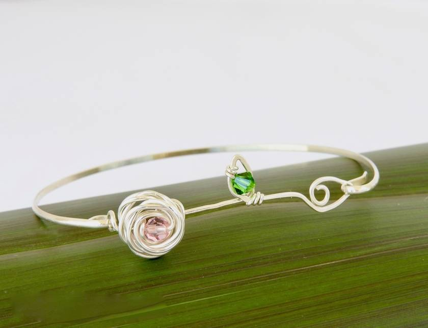 b0ba48b52f126 Eco Silver Rose and Leaf Bangle with Swarovski Crystals