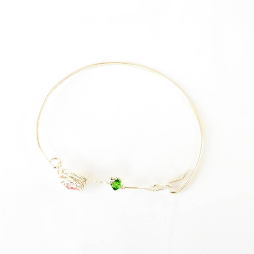 Eco Silver Rose and Leaf Bangle with Swarovski Crystals