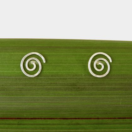 Round Spiral/ Koru Stud Earrings in Eco Sterling Silver