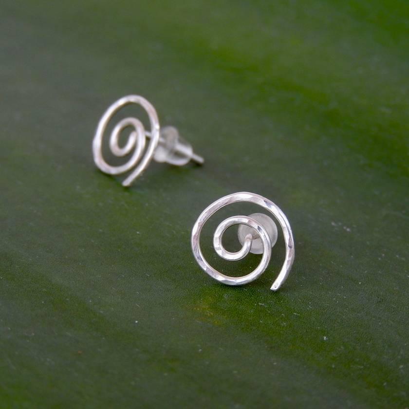 Round Spiral/ Koru Stud Earrings in Eco Sterling Silver