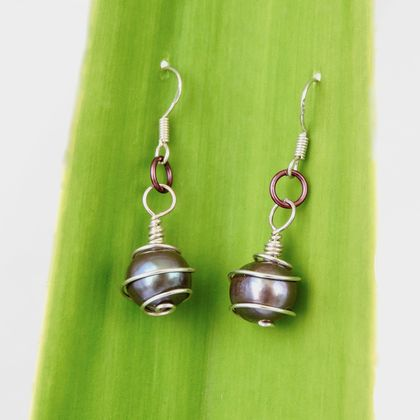 Spiral wrapped black Freshwater Pearl Earrings, in eco Sterling Silver
