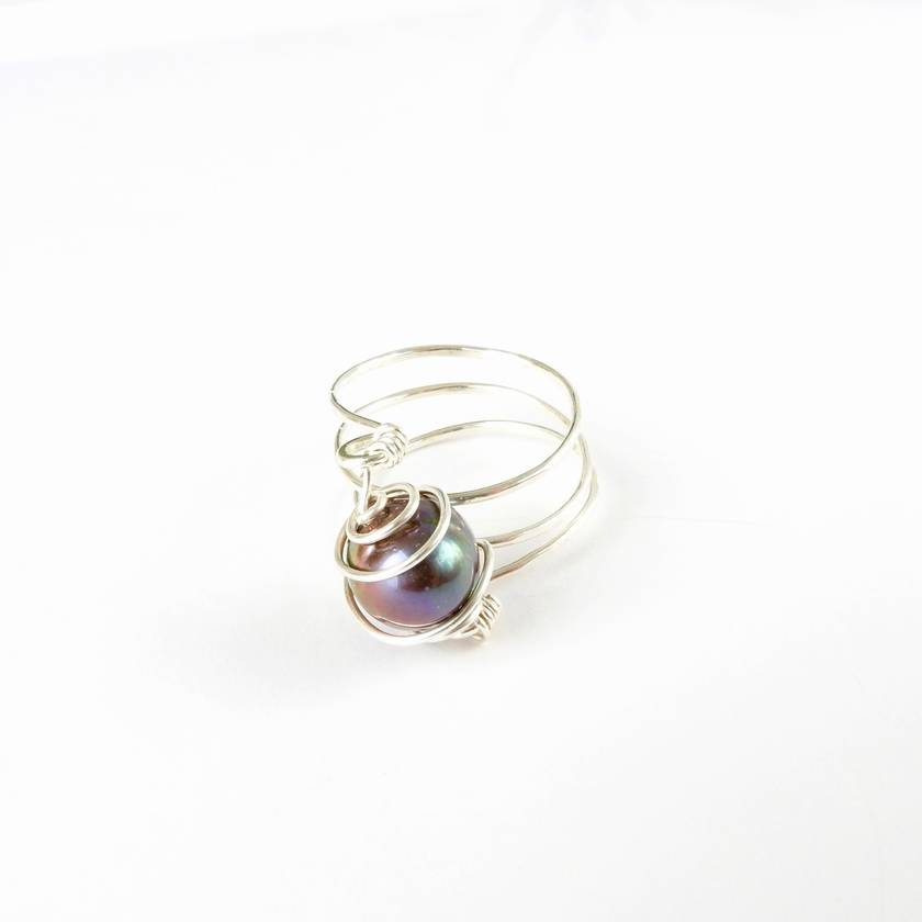Eco Silver Layer Ring with Spiral Wrapped Black Freshwater Pearl