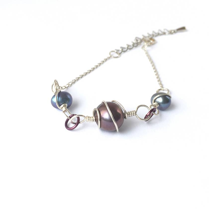 Spiral Wrapped Freshwater Pearl Bracelet in Recycled Sterling Silver