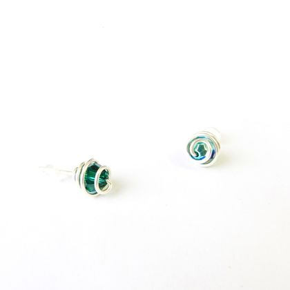 Small Eco Silver Spiralled studs with Emerald Green Swarovski Crystals