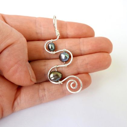3 Pearl Squiggle & Spiral Sterling Silver Eco Pendant