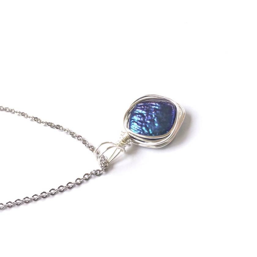 Blue Geometric Freshwater Pearl Necklace wrapped in Sterling Silver wire - on Sterling Silver chain