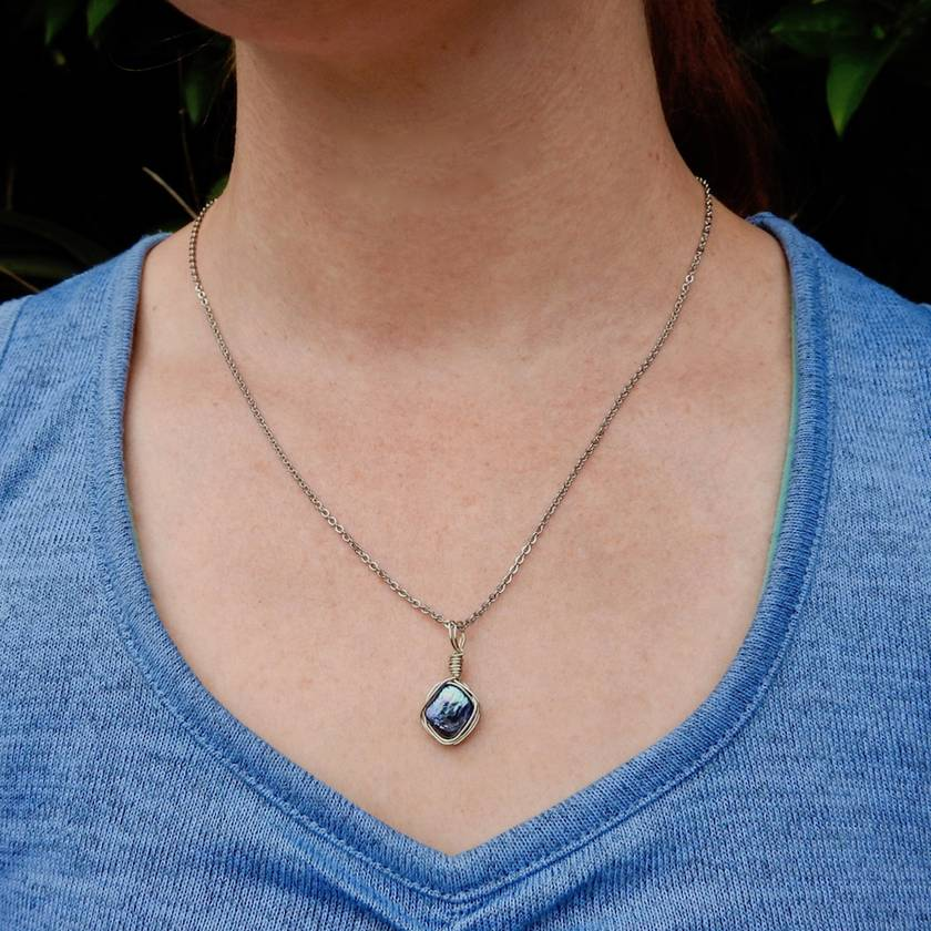 Blue Geometric Freshwater Pearl Necklace wrapped in Sterling Silver wire