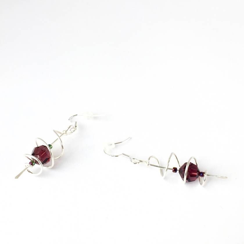 Burgundy Swarovski Crystal in Sterling Silver open cage spiralled wire earrings