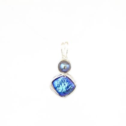 Eco Sterling Silver Wire-Wrapped Iridescent Blue 2 Pearl Pendant