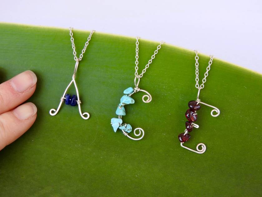 Kids Personalised/ Customised Letter Necklace in Eco Sterling Silver with Semi-Precious Stones