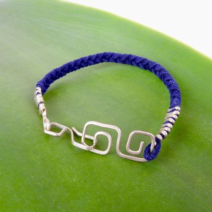 Mens Eco Sterling Silver Square Infinity Bracelet with Braided Blue Suede