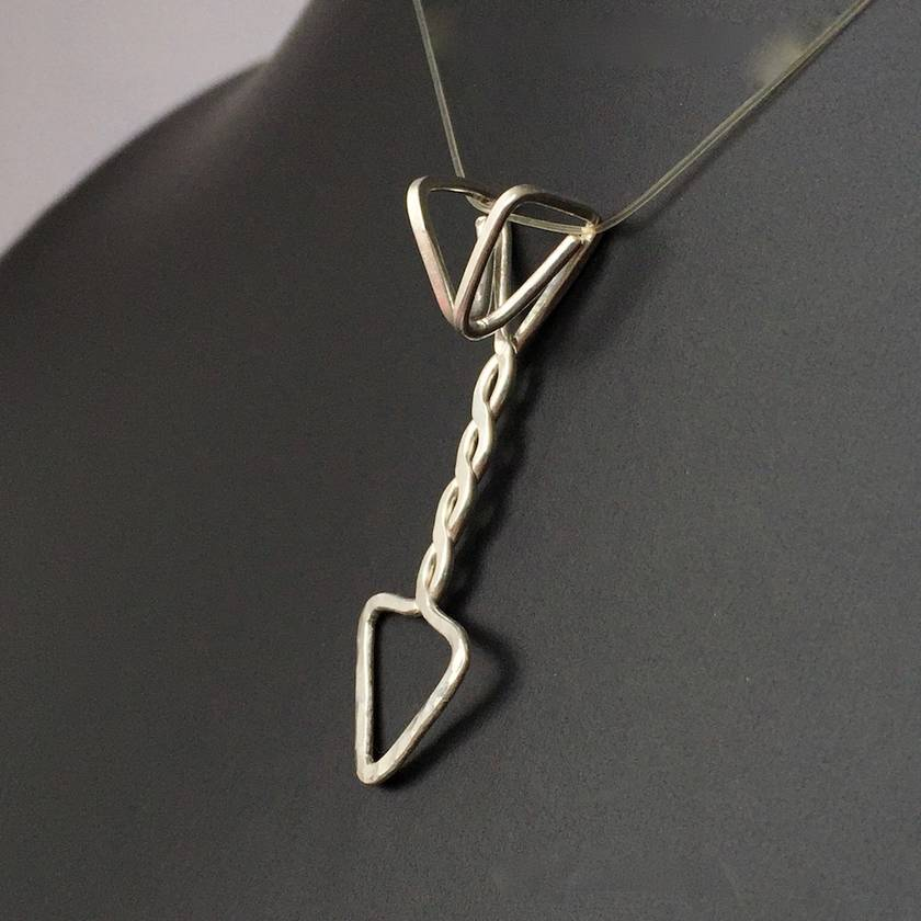 Unisex Sterling Silver Twisted Arrow Pendant